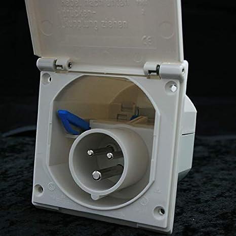 KC070 Kit Presa A pannello camper roulotte Shuko con coperchio e cornice ma CAS