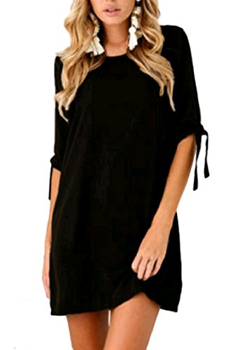 Solid Bandage Fashion Crew Coolred Neck Dress Mini Black Women Loose Colored BqwF5