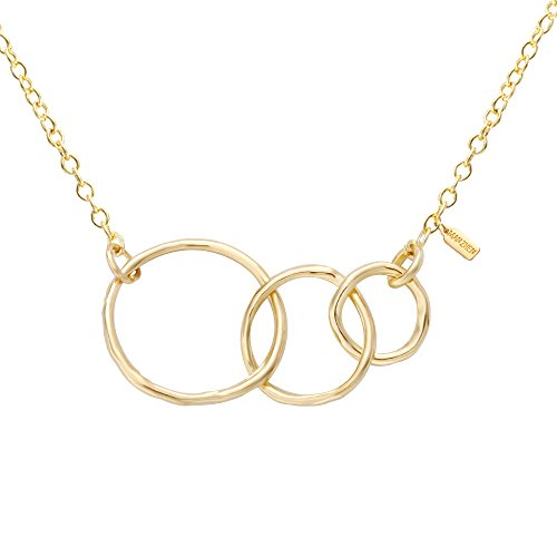 MANZHEN Three Sisters Necklace Triple Interlocking Circles Infinity Necklace(Gold)