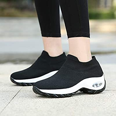 YiYLunneo Womens Sock Walking Shoes Wear Resistant Sports Sneakers Mesh Slip On Lazy Shoes Wedges Platform Shoe Loafers: Clothing