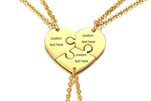 MEALGUET Personalized Stainless Steel Initial Name Heart Puzzle Necklaces 3 Piece Matching Split BFF Necklace for 3 Best Friend,Gold
