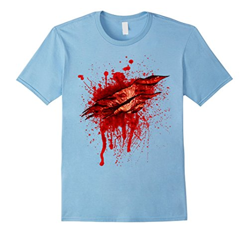 Mens Halloween Costume Gashing Bloody Wound T Shirt 3XL Baby Blue