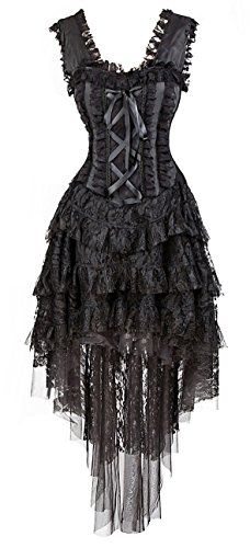 Kimring Women's Vintage Saloon Girl Corset Dress Halloween Cancan Dancer Showgirl Costume Black (Black Dress Halloween Costumes)