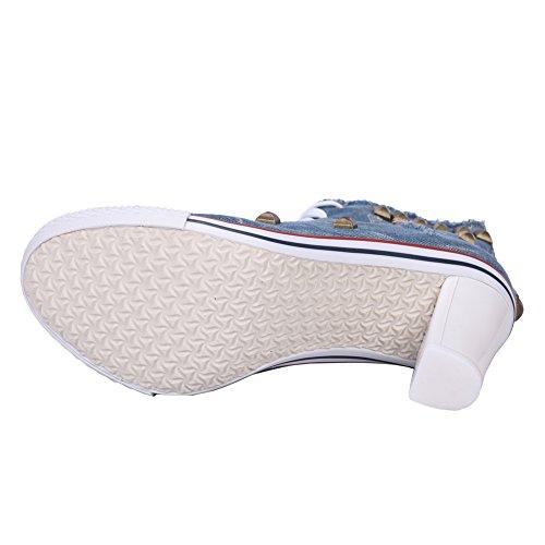 fereshte Women's Fashion Round Toe Canvas Rivet High Heels Lace up Shoes Casual Ankle Boots Blue High Q88AUZ