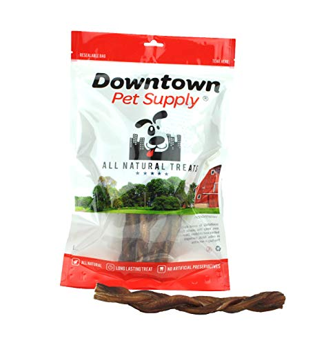 "Downtown Pet Supply Braided BULLY Sticks for Dogs - Low Odor, Long Lasting, 100% Natural Dog Dental Chew Treats, FDA & USDA Certified (9"", 10 Pack)"