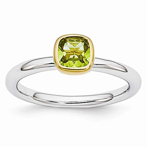 Two Tone Sterling Silver Stackable 5mm Cushion Peridot Ring Size 6