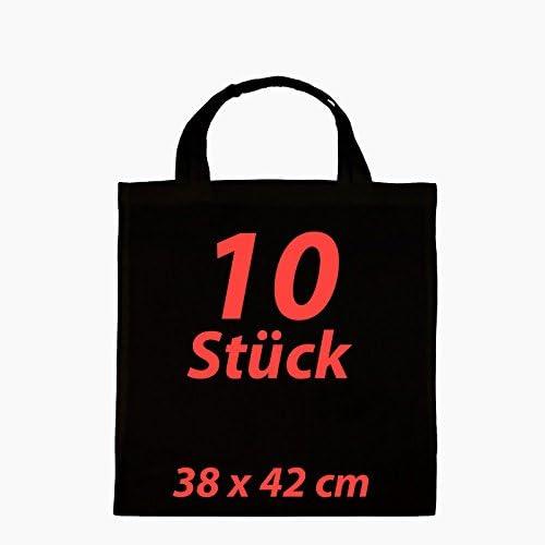 Bolsa de tela yute Bolsa Funda de algodón negro 2 Corto Asa (10 ...
