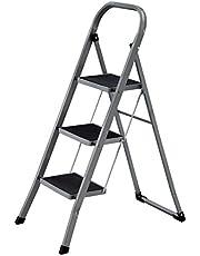 SONGMICS Klapbare treden met 3 treden, trapladder, ladder, 20 cm brede treden met anti-slip rubberen matten, anti-slip voeten, met leuning, tot 150 kg draagvermogen, gemaakt van staal, grijs-zwart GSL003GY01
