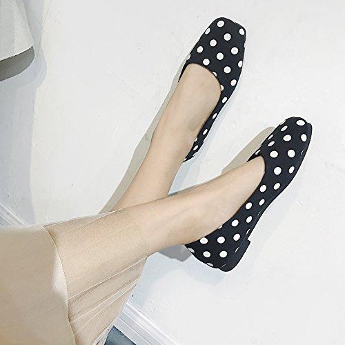 GAOLIM Un Cuadrado Plano Con Granos De Soja En El Verano Zapatos De Mujer Calzado Plano Luz-Comodín Solo Zapatos Femeninos De Fondo Plano. Negro