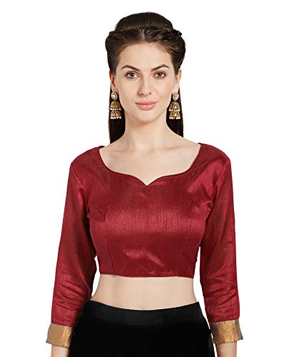 (Women's Red Art Silk Readymade Party Saree Blouse Stylish Choli Mirchi Fashion Top)