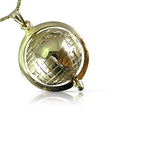 14k Gold Globe (Milano Jewelers 14K YELLOW GOLD CLASSIC ALL ROUND THE WORLD GLOBE FLOATING PENDANT #26291)