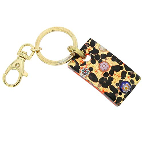 GlassOfVenice Murano Glass Colors Rectangular Keychain - Gold Millefiori