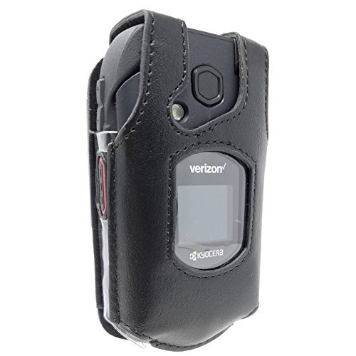 Kyocera Duraxv XV Lte Case E4610 Phone Leather Fitted With Rotating Belt Clip Black by Dura