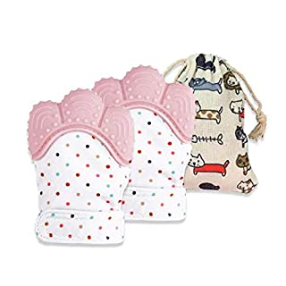 SUMDAYNIET Baby Teething Mittens Teether Toys for Baby Safe Silicone Soothing Mitten Gloves with Travel Bag, for 3-12 Months Baby, 2 Mittens (Pink)