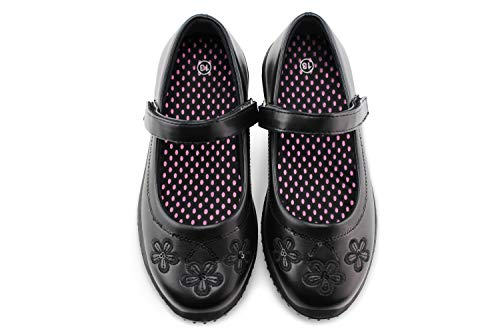 Jabasic Girls Mary Jane Dress Shoes Strap School Uniform Flats (7,Black-2)