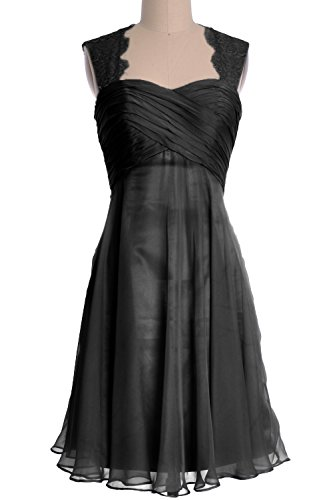 Formal Dress Cocktail MACloth Chiffon Lace Gown Bridesmaid Schwarz Straps Short Women qxB8g7
