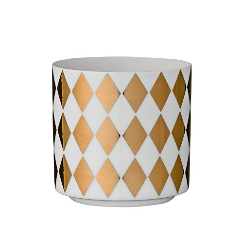 Bloomingville White and Gold Ceramic Tealight Holder with Harlequin Print Harlequin Candle Holders