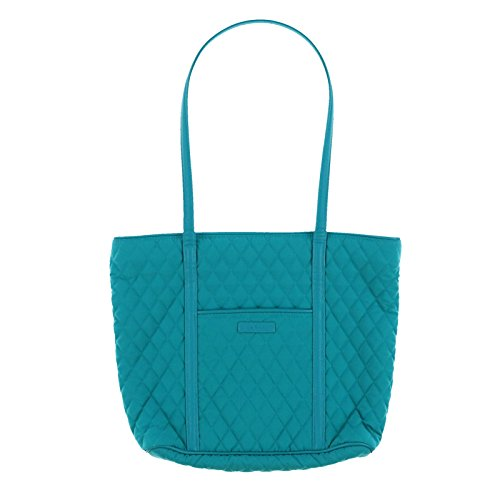 (Vera Bradley Small Trimmed Vera Tote Bag (Peacock Blue))