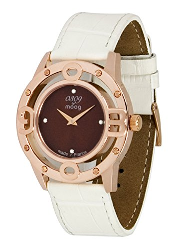 Moog Paris - 0309 - Women's watch with brown dial, white strap in genuine calf leather - Made in France - M41762-003