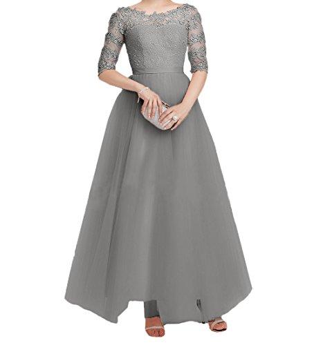 Brautmutterkleider Damen Festlichkleider Tuell Elegant Abendkleider Promkleider Lang Partykleider Spitze Langarm Charmant Grau 71xAq4nwXX