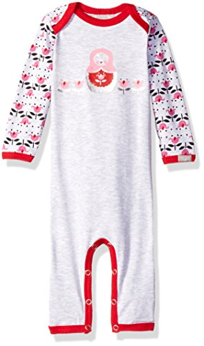 Flower Print Jersey Knit Cotton Union Suit, Heather Grey/Begonia, 1 Months ()