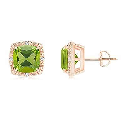 Angara Claw-Set Cushion Tanzanite Beaded Halo Stud Earrings XkrrI