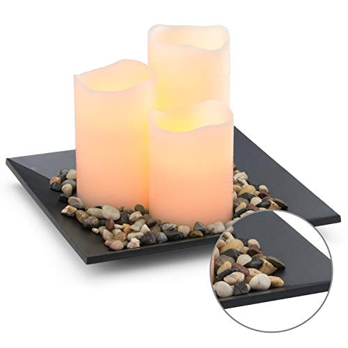 Flameless Candles Set Classic Ivory Real Wax Pillar Battery Operated Candles LED Candle Tray Home Decoration Safe Flickering Dancing Flameless Candles(H4'' 5'' 6''),Sets of 3 with Tray & Rocks Pebble by CHARAVECTOR