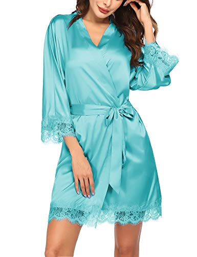 Hotouch Women's Pure Color Short Satin Kimono Robes with Oblique V-Neck Bridesmaid Wedding Party Dressing Gown XS-XXL