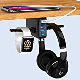 Yostyle Headphone Stand with USB Charger, Under Desk Headset Hook Holder Hanger Mount with 5 USB Port Quick Charging Station(8A/40W),iWatch Charging Dock for PC Gaming Headsets Accessories,UL Tested