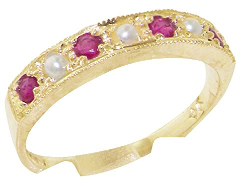 Solid 10k .417 Yellow Gold Cultured Pearl and Ruby Womens Band Ring - Sizes 4 to 12 Available