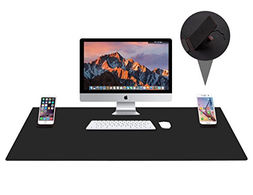 "Large Gaming Mouse Pad / Mat, Vogek Extended Mousepad Desk Pad XXL with Two Kick Stands for Smartphones, 33"" x 22"" x 0.1"", Black"