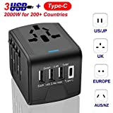 Universal Travel Adapter - Wsiiroon International Power Adapter - 3 USB + 1 Type C All in One Travel Charger with UK/US/AUS/EU Plugs and Socket - Perfect for Laptop, Cell Phones (Smart Quick Charging)