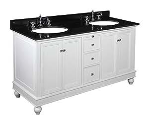 Kitchen Bath Collection Kbc222wtbk Bella Double Sink Bathroom Vanity With Marble Countertop
