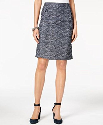 Tommy Hilfiger Womens Pleated Tweed Straight Skirt Blue ()