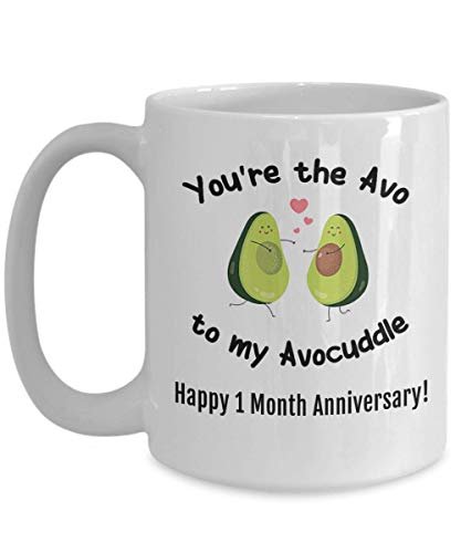 1 Month Dating Anniversary Gifts for Him Men Her Women Mug First 1st One Mo Boyfriend Girlfriend Avocuddle Avocado (One Month Wedding Anniversary Gifts For Him)