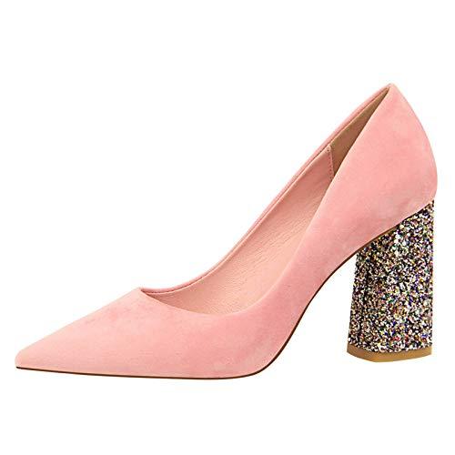 D 38 EU FLYRCX Pointy épais des Chaussures Simples de tempéraHommest élégant Chaussures de Travail Les Les dames à Talons Hauts