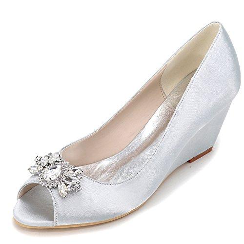 6 Sandals Pump 5 Chunky Crystal per Sposa per Seta Toe Donna Primavera da Scarpe Cm Elobaby Summer Silver Tacco Peep Basic qzxa0fw