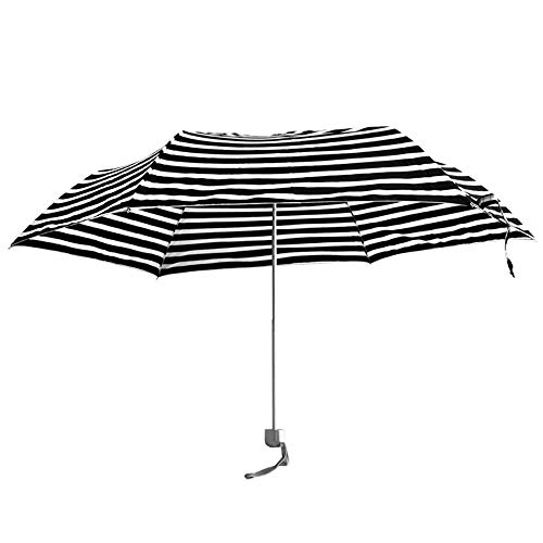 Abstract Striped Foldable Umbrella, Ultra light mini folding umbrella, Windproof UV sun protection umbrella, Flat tri-fold umbrella Outdoor Sunny Parasols Outdoor Sun Umbrella-Manually Black and white (Sunny Rainbow Nylon Umbrella Parasols)