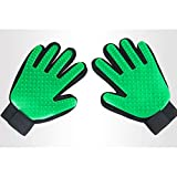 Dog Cat Pet Clean Hair Gloves, Beauty Massage Silicone Bath Massage Brush (Left Hand Right Hand),Green