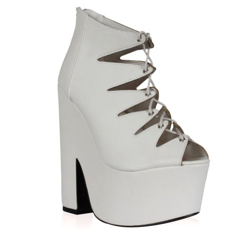 My1stwish Women's Platform Heel Lace Up White Shoes Size 10
