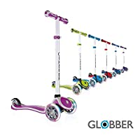 Globber V2 3-Wheel 4 Adjustable Height Scooter W/ Flashing Lights Zero Assembly Patented Steering Lock Great for Kids Toddlers Girls Boys Reinforced Body Supports Up to 110lbs