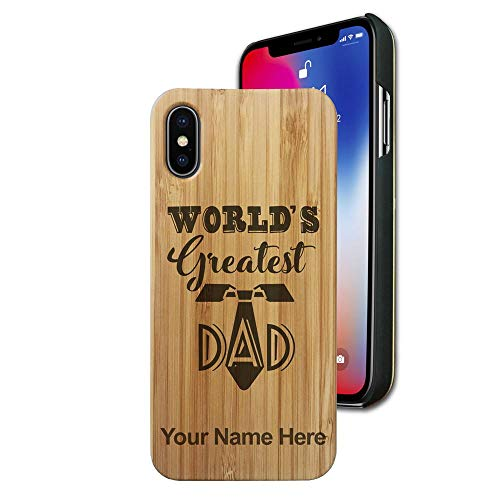 Bamboo case Compatible with iPhone X and iPhone Xs, World's Greatest Dad, Personalized Engraving Included