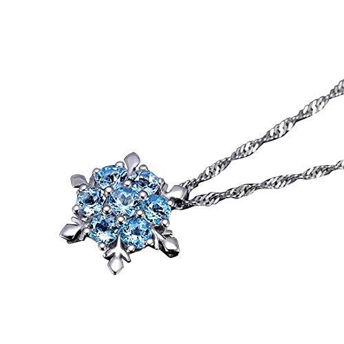 Leedford Sapphire Necklaces Women Snowflake 925 Silver Jewelry Choker - CZ Pendant Choker Diamond Thin Chain Birthday Gifts