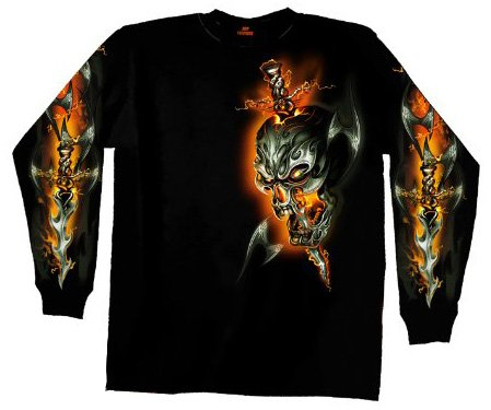 Hot Leathers Electric Skull Long Sleeve T-Shirt (Black, X-Large)
