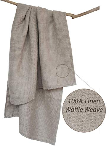 Softened Washed Bath Linen Towel - Thick 100% Natural Linen Flax Tumble-Dried 28.5x53 Inch Gray Waffle Weave Stonewashed Quick Drying Shower Beach Body Cloth