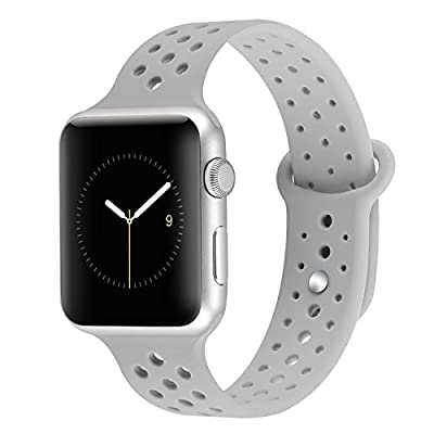 YiJYi Apple Watch Bands 38mm 42mm,Soft Silicone Strap Replacement Wristband for iWatch Apple Watch Series 1/2/3 (42mm, 8.Light Grey)