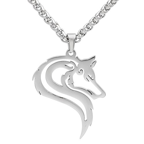 GuoShuang Men 316L Stainless Steel Norse Viking oidn's Wolf Head Celt Amulet Pendant Necklace
