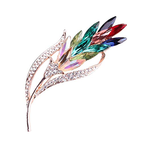 Barhalk Exquisite Wheat Brooch Pins Stylish Multi-Color Zircon Boutonniere Elegant Rhinestone Jewelry Gifts for Clothing Scarf Mother's Day Valentine's Day Party Accessories