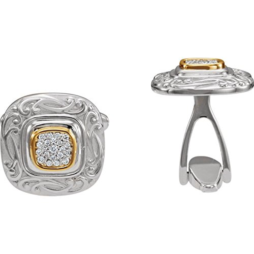 Sterling Silver and 14k Yellow Gold Polished 0.25 Dwt Diamond Cuff Links