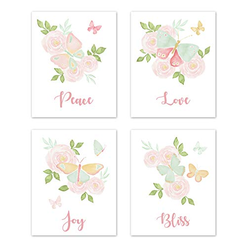 Sweet Jojo Designs Blush Pink, Mint and White Watercolor Rose Wall Art Prints Room Decor for Baby, Nursery, and Kids for Butterfly Floral Collection - Set of 4 - Peace, Love, Joy, Bliss ()